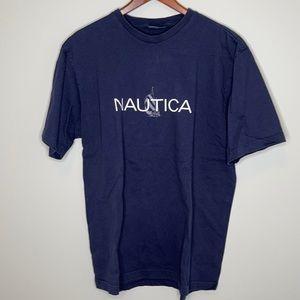 NAUTICA navy retro 100% cotton lil' boat logo tee
